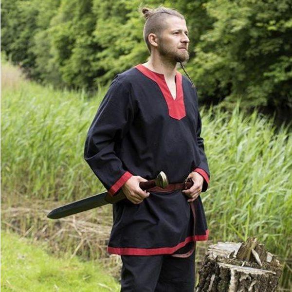 Epic Armoury Middeleeuwse tuniek met lange mouwen zwart-rood