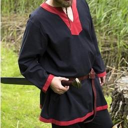 Medeltida långärmad tunika svart-röd