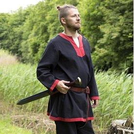 Epic Armoury Tunique médiévale à manches longues noir-rouge