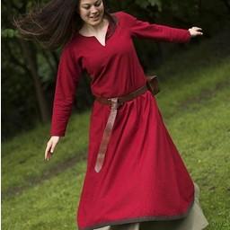 Basic Kleid, dunkelrot / braun