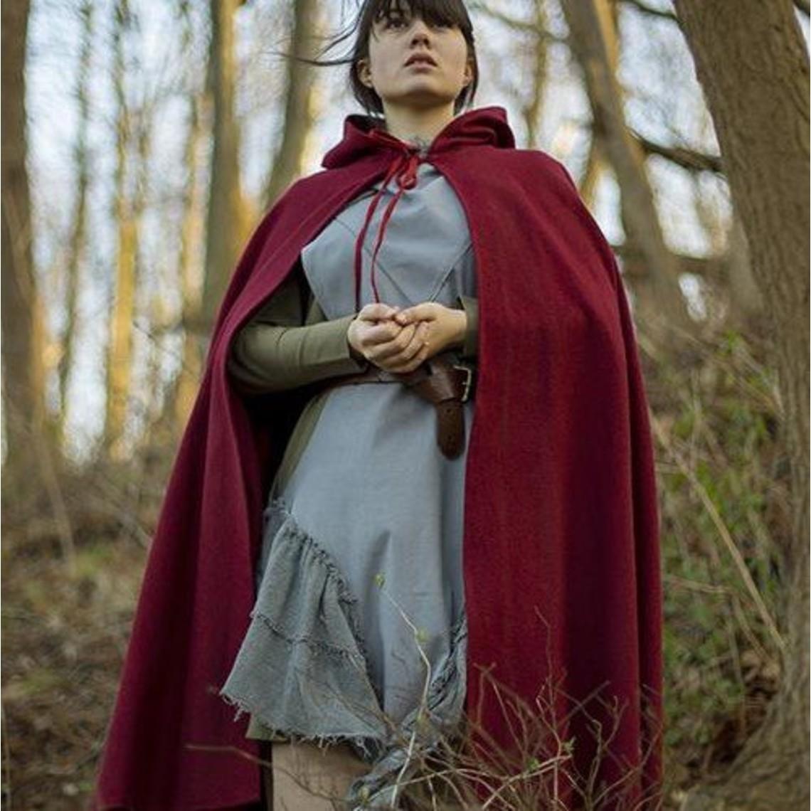 Epic Armoury Capa de lana con capucha, 100% de lana, de color rojo oscuro