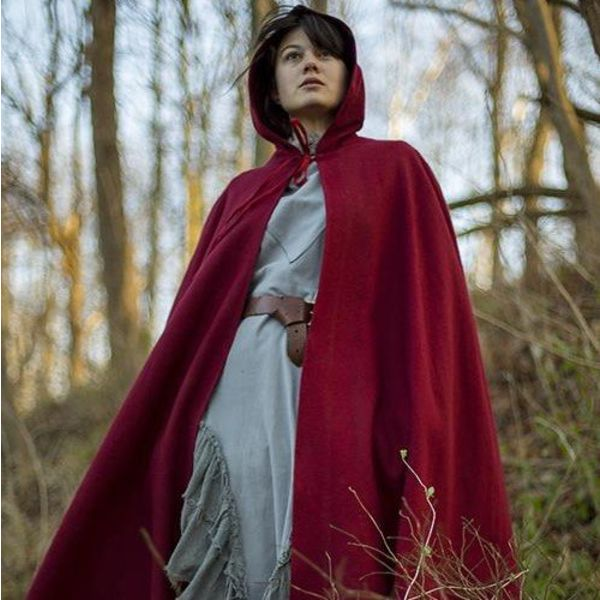 Epic Armoury Hooded Wool Cape, dark red