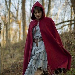 Hooded Wool Cape, dark red