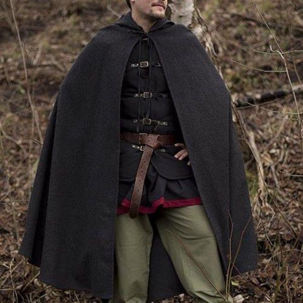 Epic Armoury Wollen cape met kap, 100% wol, grijs