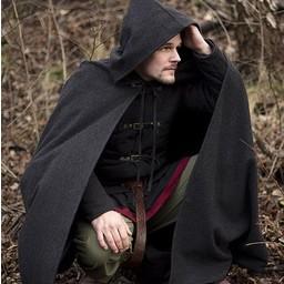 Wollen cape met kap, 100% wol, grijs