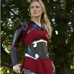 Dark Elf black / white leather corset