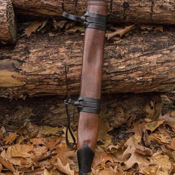 Epic Armoury LARP Sword Scabbard, medium, left-handed, leather