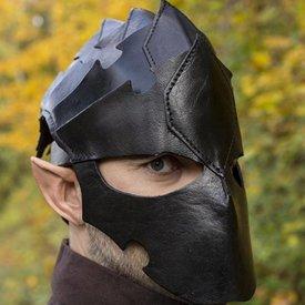 Epic Armoury Assassin Hjälm, svart läder, LARP