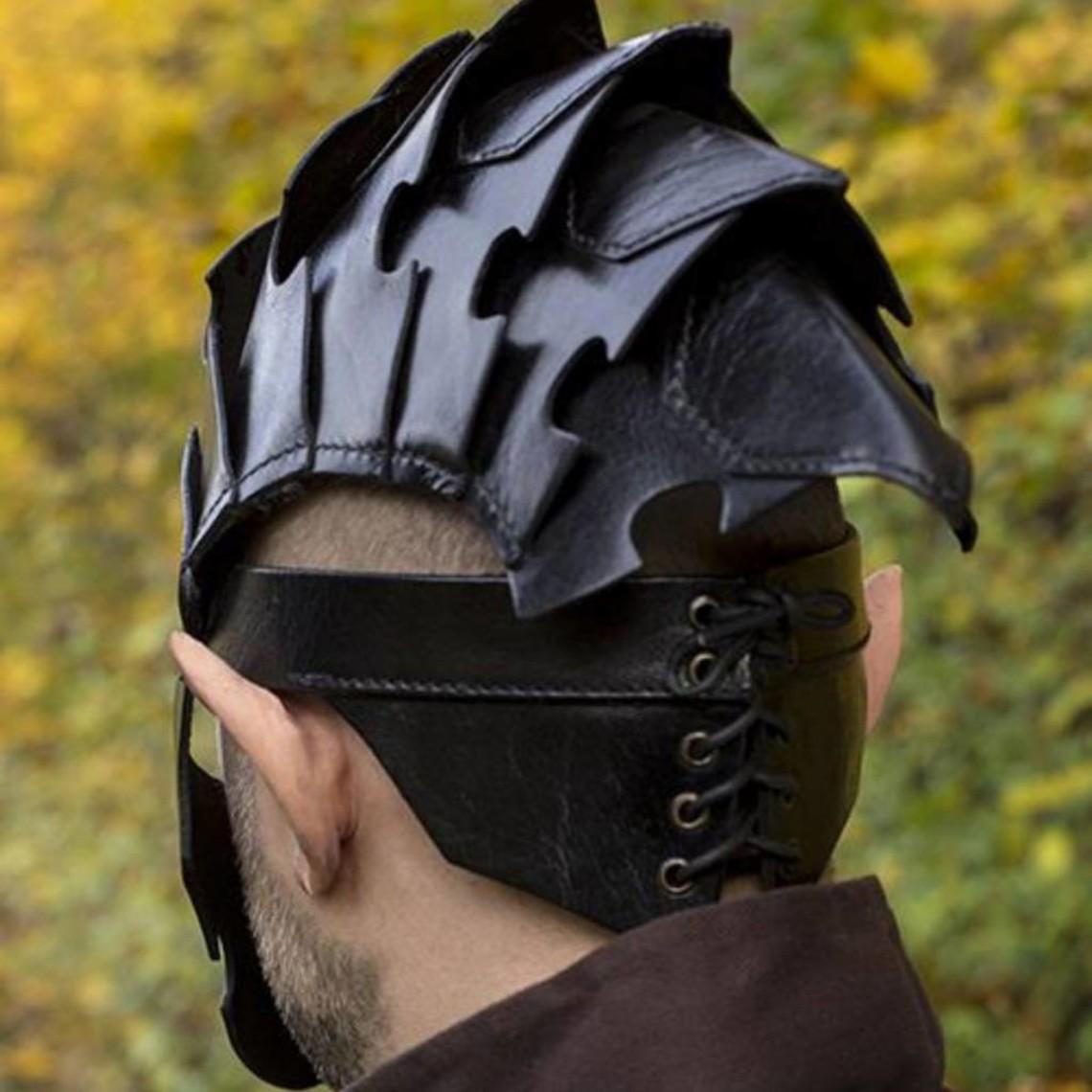 Epic Armoury Attentäter Helm, schwarzes Leder, LARP