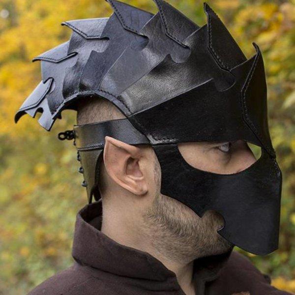 Epic Armoury Assassin, LARP helm, zwart leer