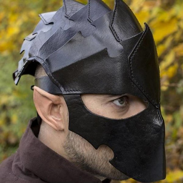 Epic Armoury Assassin Kask, Black Leather, LARP