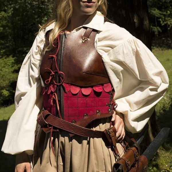 Epic Armoury Female Leather Armor, Brown / Red, LARP
