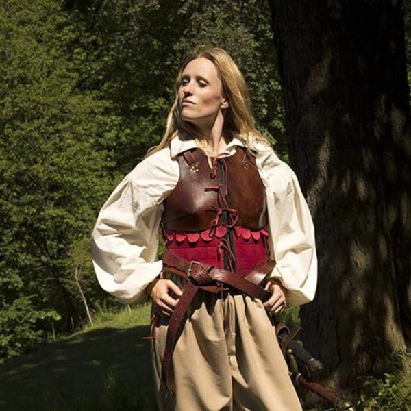 Epic Armoury Female Leather Armour, Brown/Red, LARP