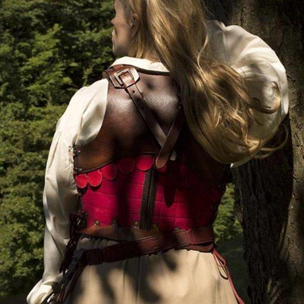 Epic Armoury Leren vrouwenpantser, bruin/rood, LARP
