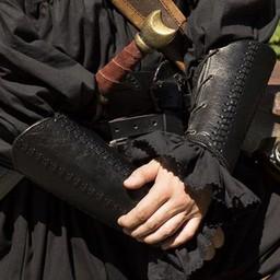 Läder bracers Battle par, svart