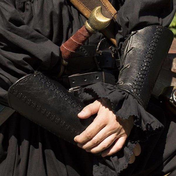 Epic Armoury Leren armbeschermers Battle, paar, zwart