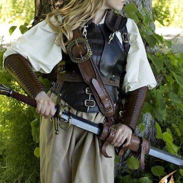 Epic Armoury Leather Bracers slaget, brun, par
