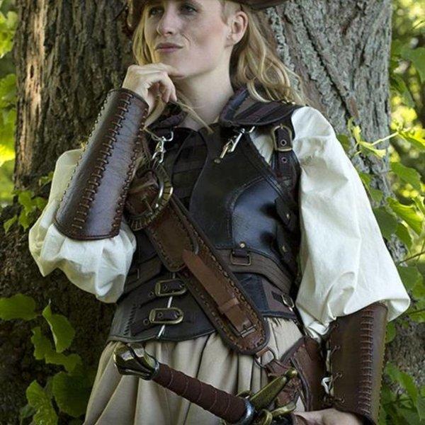 Epic Armoury Brassards en cuir Battle, marron, paire