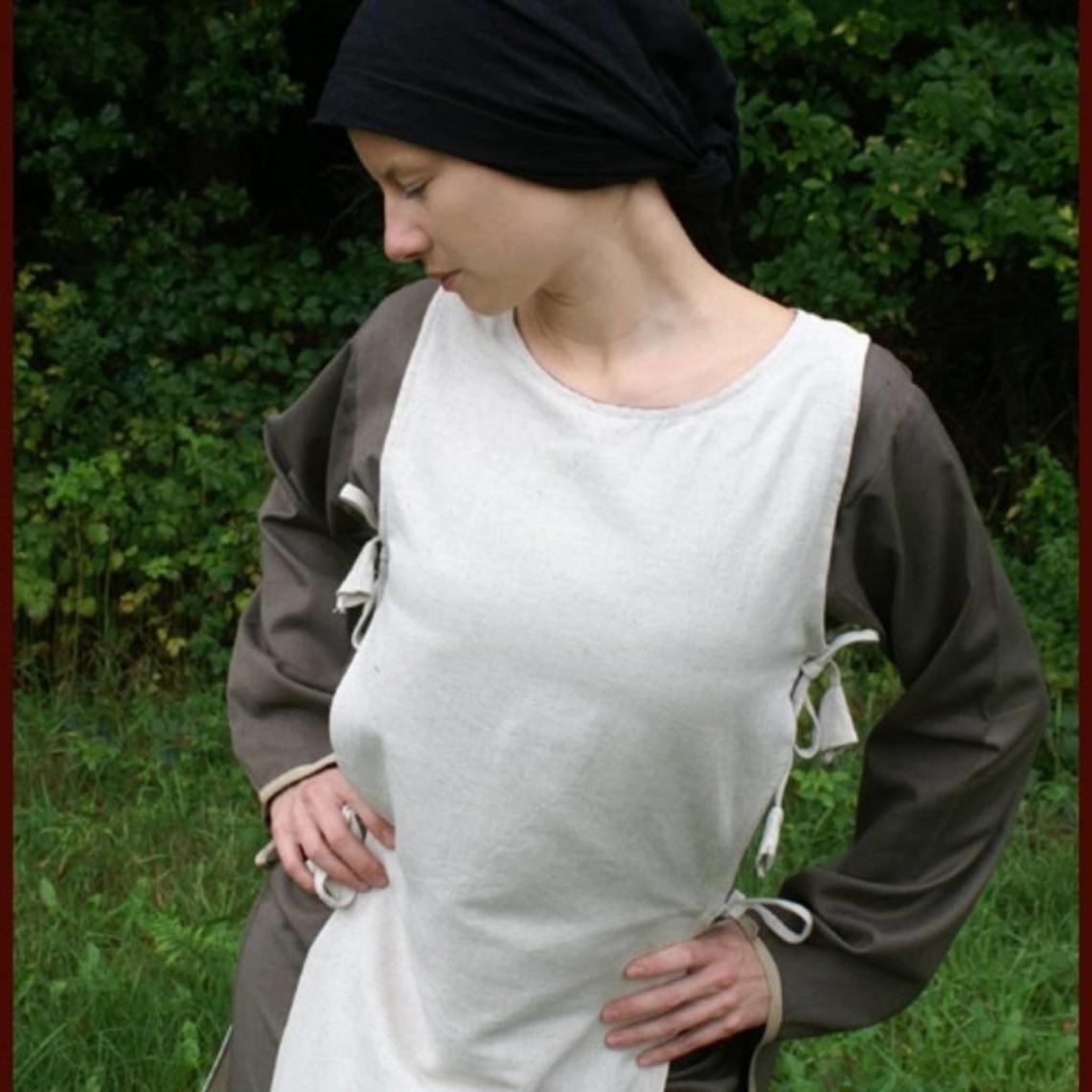 Mittelalterliches Kleid Agnes weiß-olivgrün