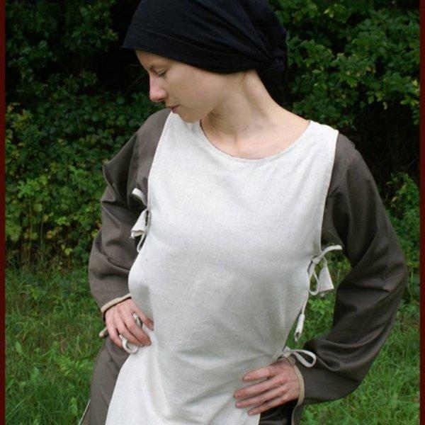 Middelalderlige kjole Agnes hvid-olivengrøn
