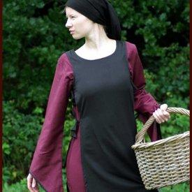 Middelalderlige kjole Agnes sort-bordeaux