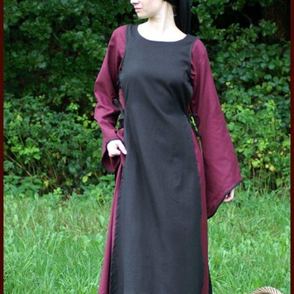 Mittelalterliches Kleid Agnes schwarz-bordeaux