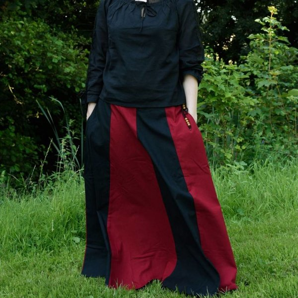 Middeleeuwse rok Loreena, zwart-rood