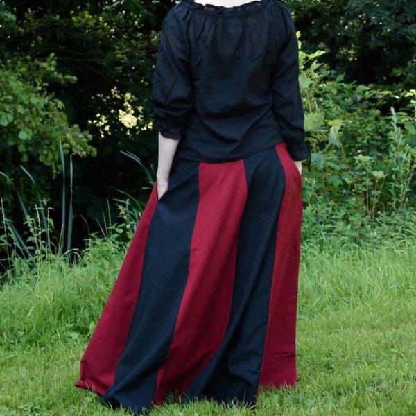 Jupe médiévale Loreena, noir-rouge