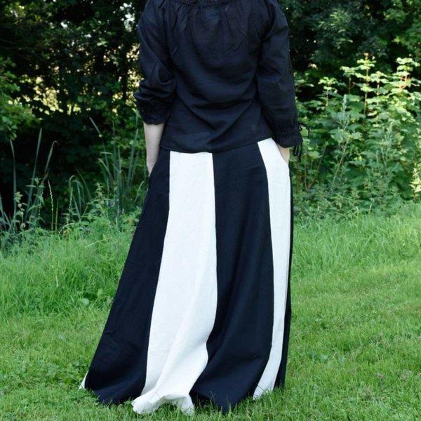 Middeleeuwse rok Loreena, zwart-naturel
