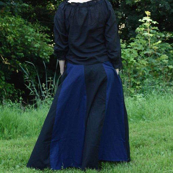 Middeleeuwse rok Loreena, zwart-blauw
