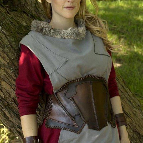Epic Armoury Dark Elf donkerbruin/bruin leren korset