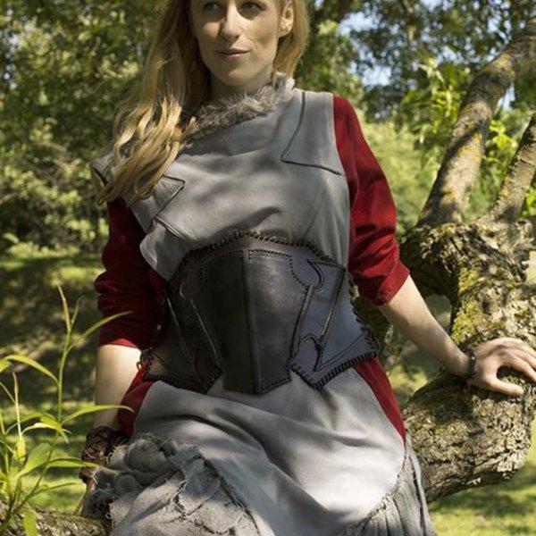 Epic Armoury Corset Elf foncé en cuir noir / marron