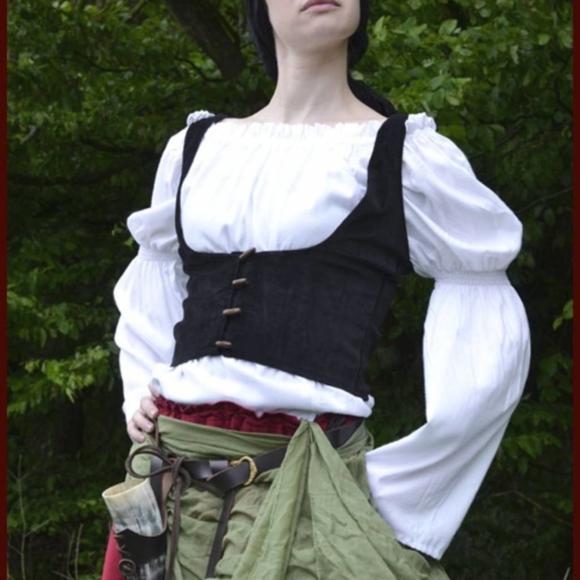 Chaleco medieval ryia, negro.
