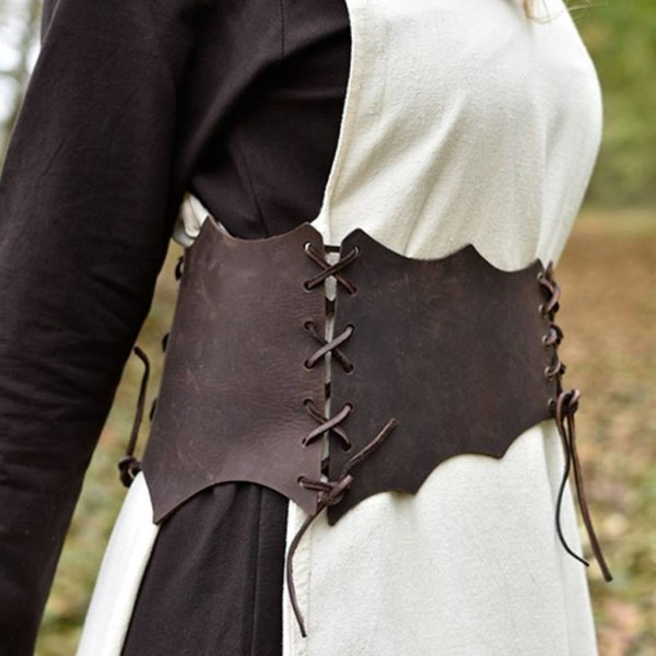 Leather corset belt Maerwynn, brown