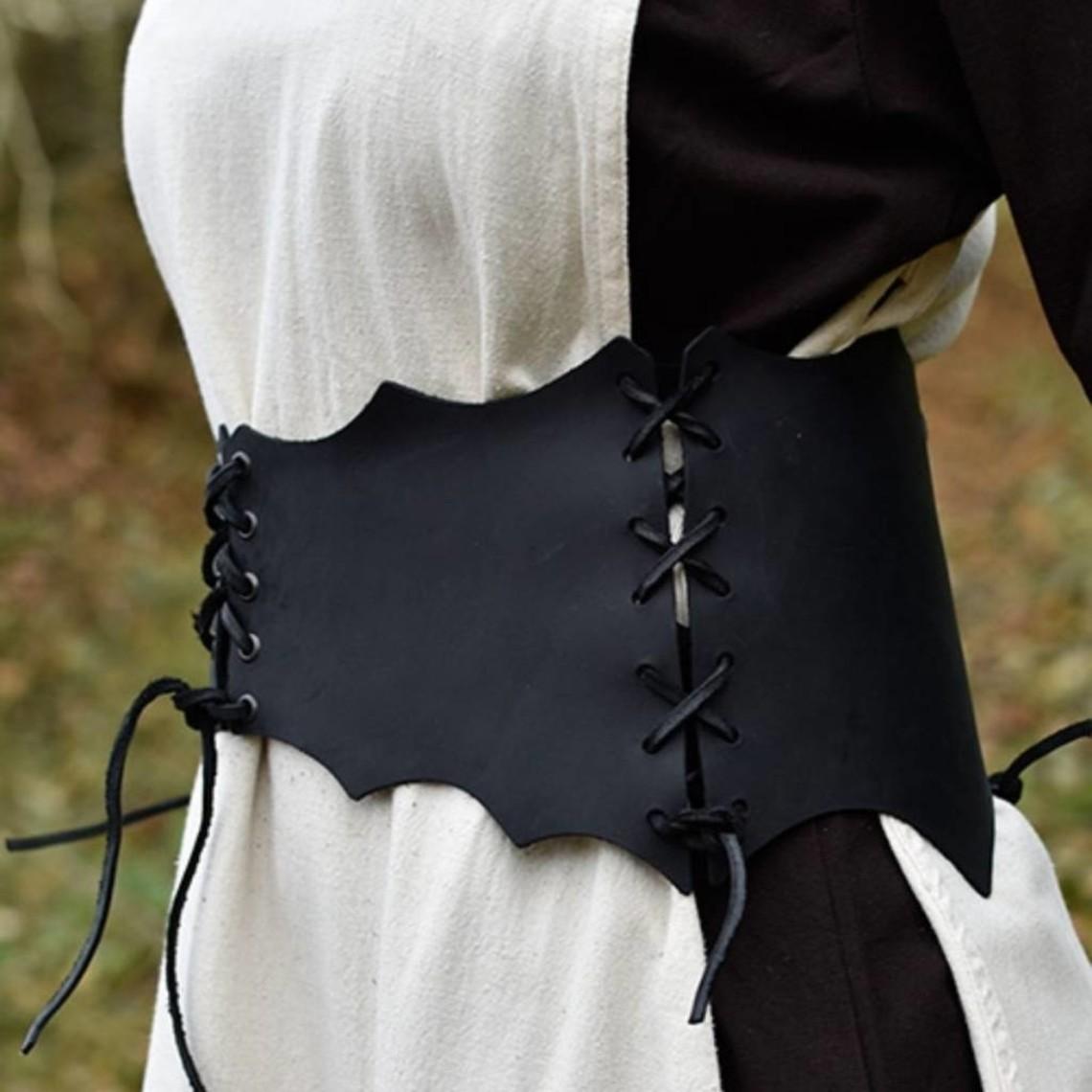 Cinturón corsé de cuero Maerwynn, negro.