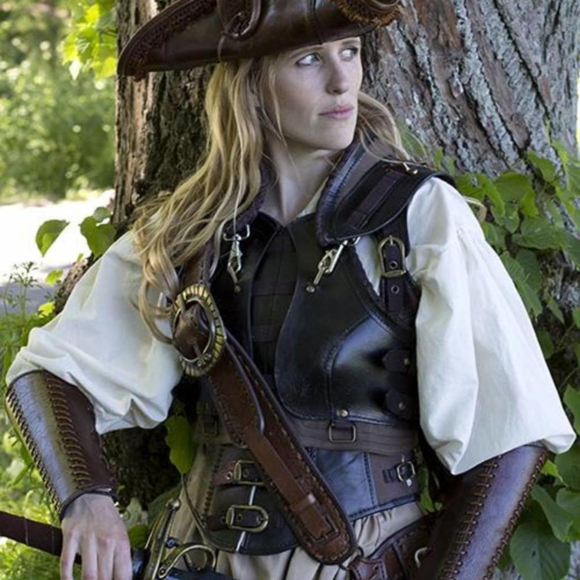 Epic Armoury Gorset skórzany Rogue, czarno-brązowy