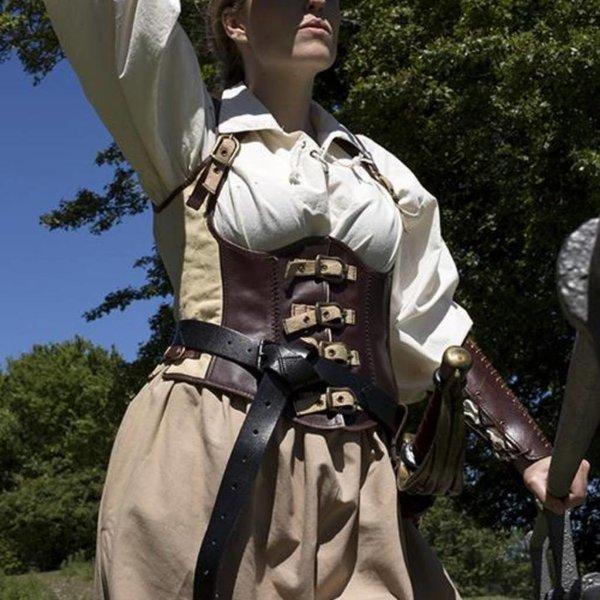 Epic Armoury Leren korset Rogue, bruin-beige