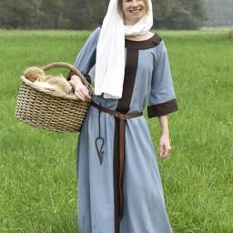 (Early) medieval dress Clotild, blue grey-brown