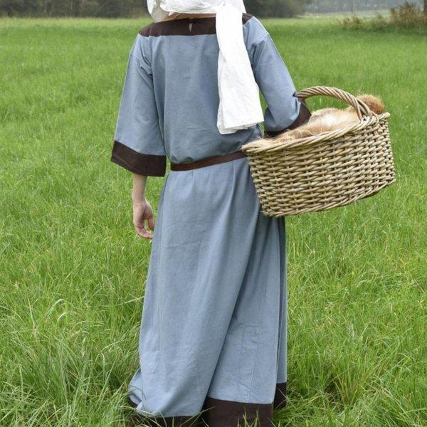 (Tidig) medeltids klänning Clotild, blå grå-brun