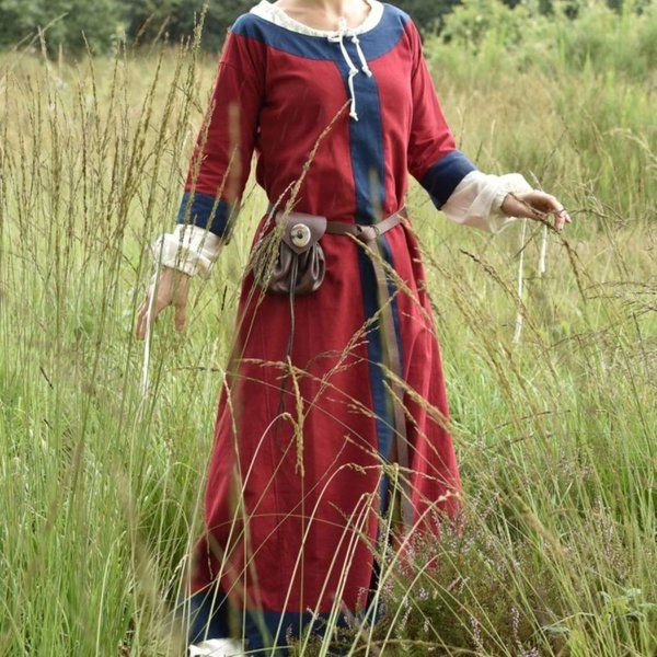 (Tidlig) middelalderlig kjole Clotild, rød-blå