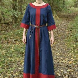 (Tidig) medeltids klänning Clotild, blå-röd