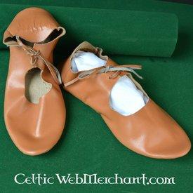 Deepeeka Chaussures médiévales à lacets, en cuir retourné (1100-1500)