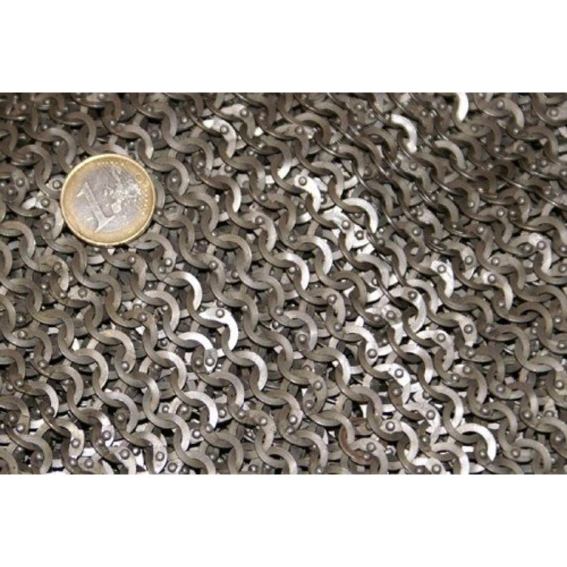 Ulfberth Brynjefrakke med mid-længde ærmer, Flade ringe - Runde nitter, 8 mm