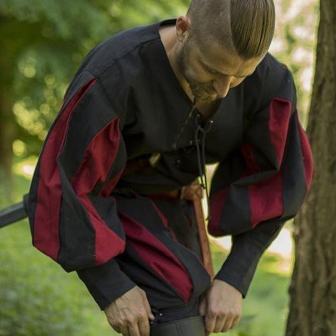 Epic Armoury camicia Landsknecht, nero / rosso
