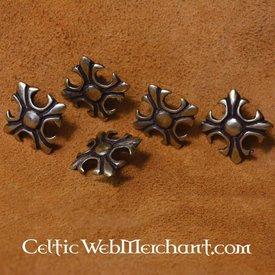 Bouton décoratif, Lys médiéval, lot de 5
