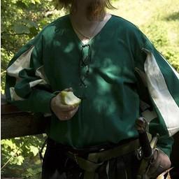 camicia Landsknecht, verde / bianco