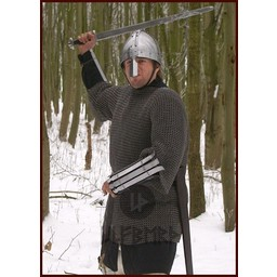Hauberk with mid-length sleeves, mixed flat rings-round rivets, 8 mm