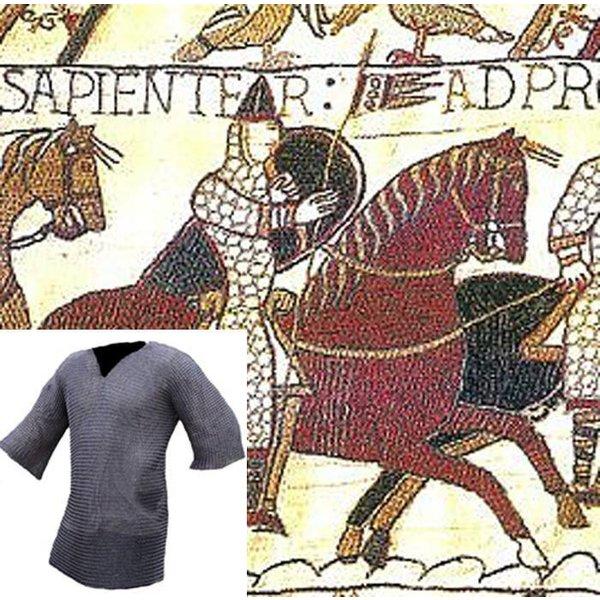 Ulfberth Kettenhemd mit halblangen Ärmeln, gemischten Flachringe-Rundnieten, 8 mm