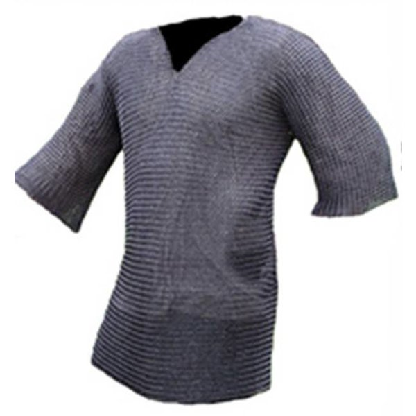Ulfberth Hauberk with mid-length sleeves, mixed flat rings-round rivets, 8 mm