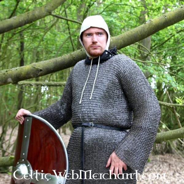 Ulfberth Hauberk with long sleeves, mixed flat rings-round rivets, 8 mm